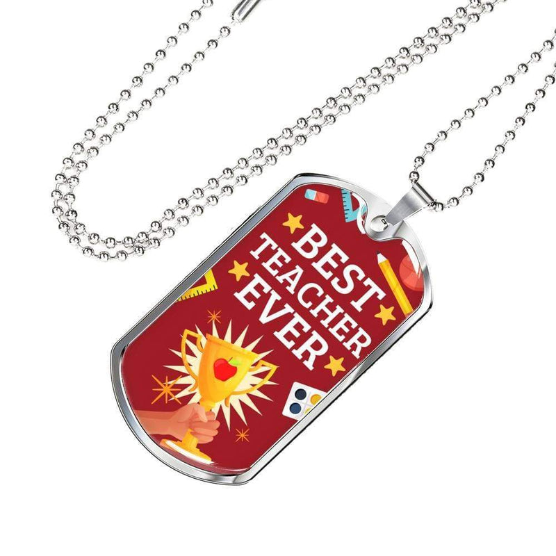 "Best Teacher Ever Teacher Appreciation Gift Necklace Stainless Steel or 18k Gold Military Dog Tag w 24"" Ball Chain Express Your Love Gifts"