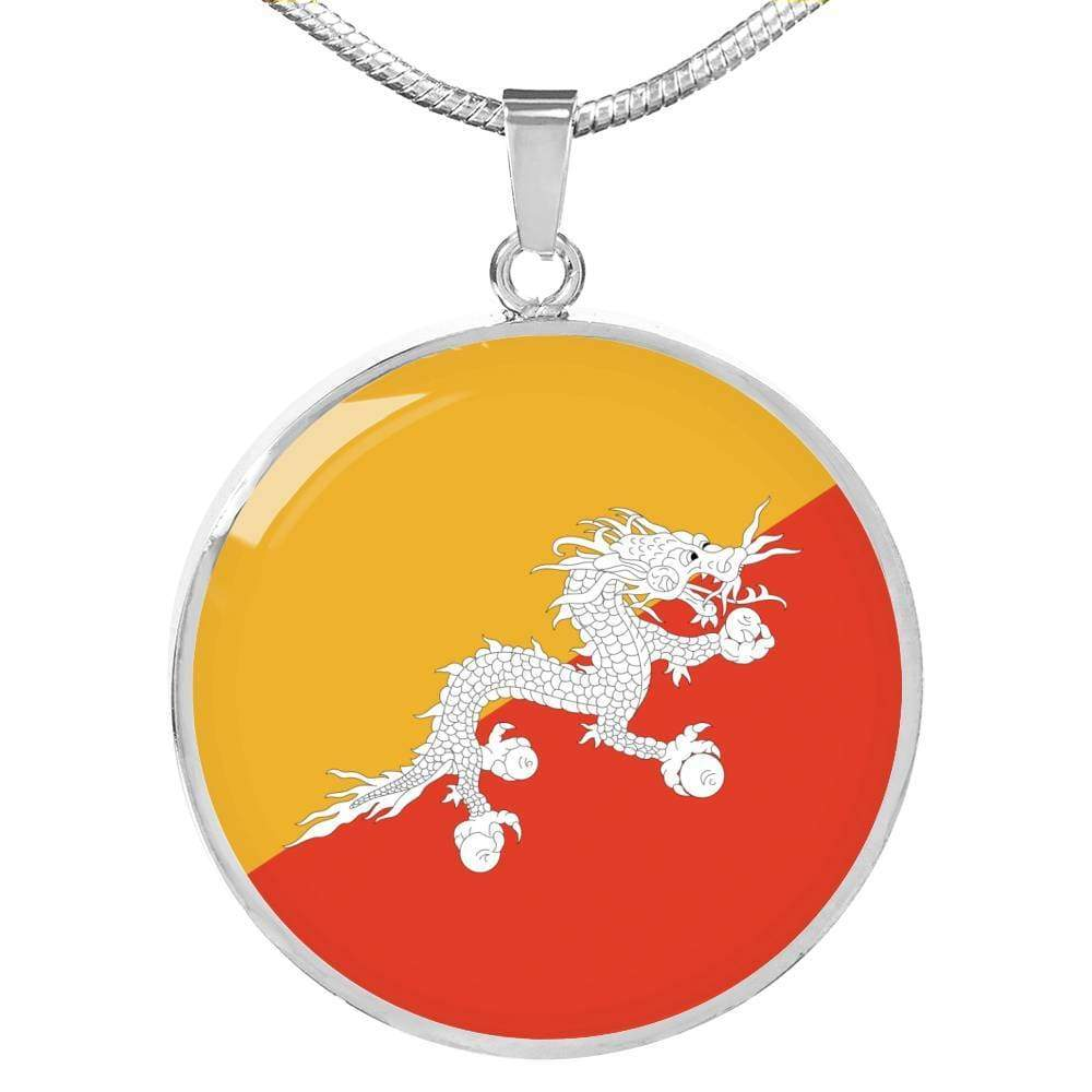 "Bhutan Flag Love My Country Handmade Circle Pendant Necklace Stainless Steel or 18k Gold Finish Adjustable 18""-22"" Express Your Love Gifts"