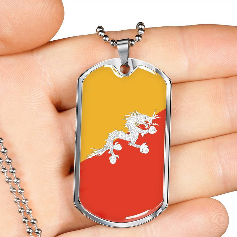 "Bhutan Flag Love My Country Handmade Necklace Stainless Steel or 18k Gold Dog Tag w 24"" Ball Chain Express Your Love Gifts"