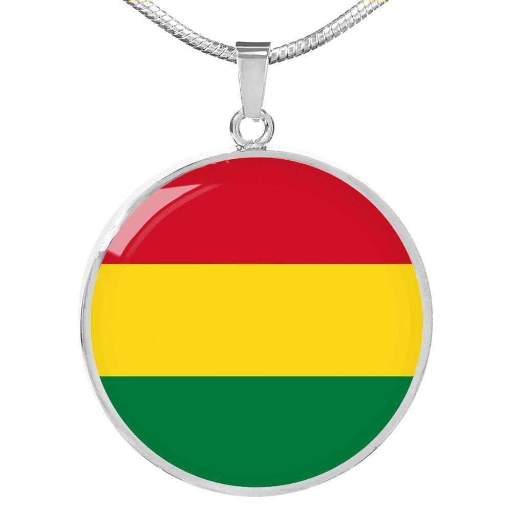 "Bolivia Flag Love My Country Handmade Circle Pendant Necklace Stainless Steel or 18k Gold Finish Adjustable 18""-22"" Express Your Love Gifts"