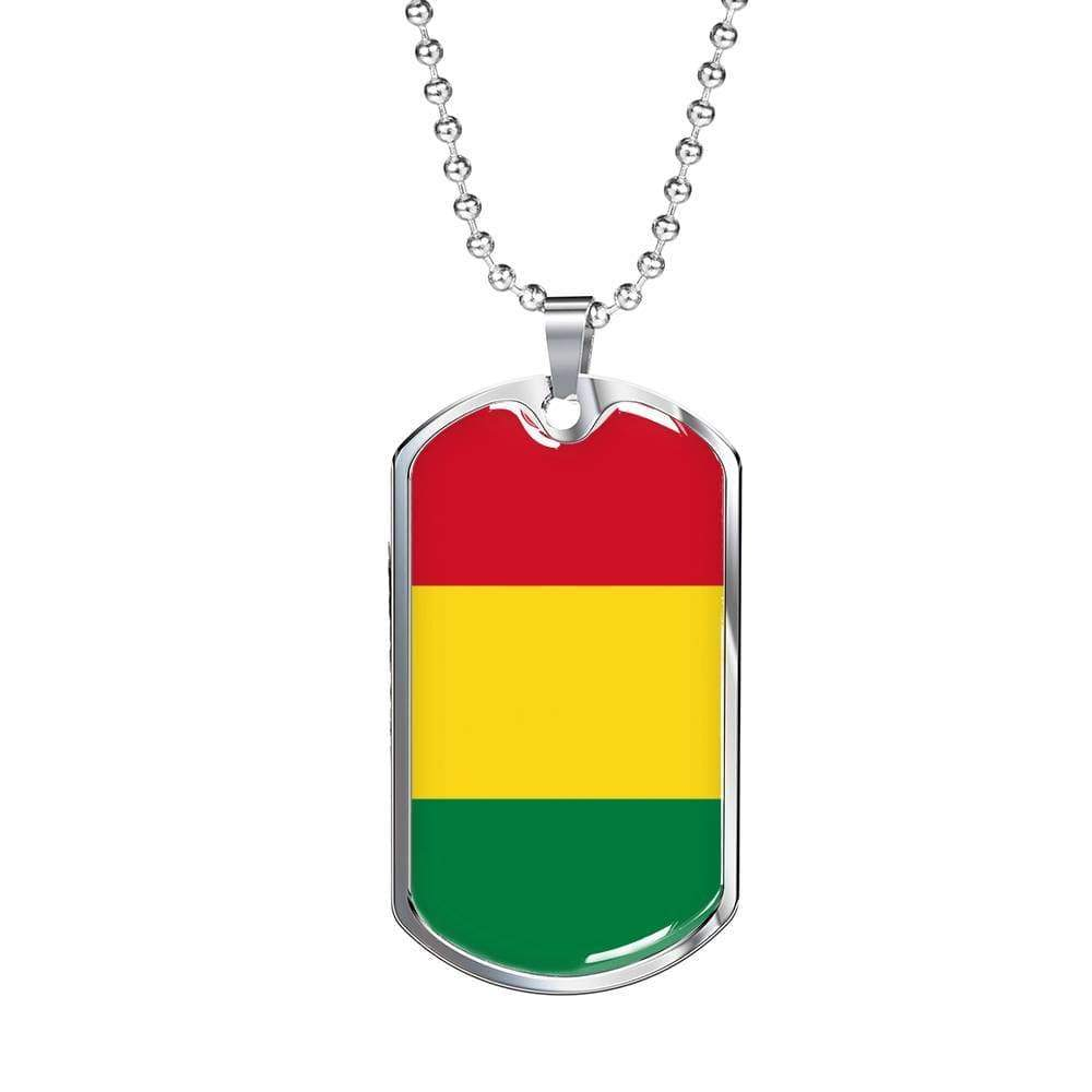 "Bolivia Flag Love My Country Handmade Necklace Stainless Steel or 18k Gold Dog Tag w 24"" Ball Chain Express Your Love Gifts"