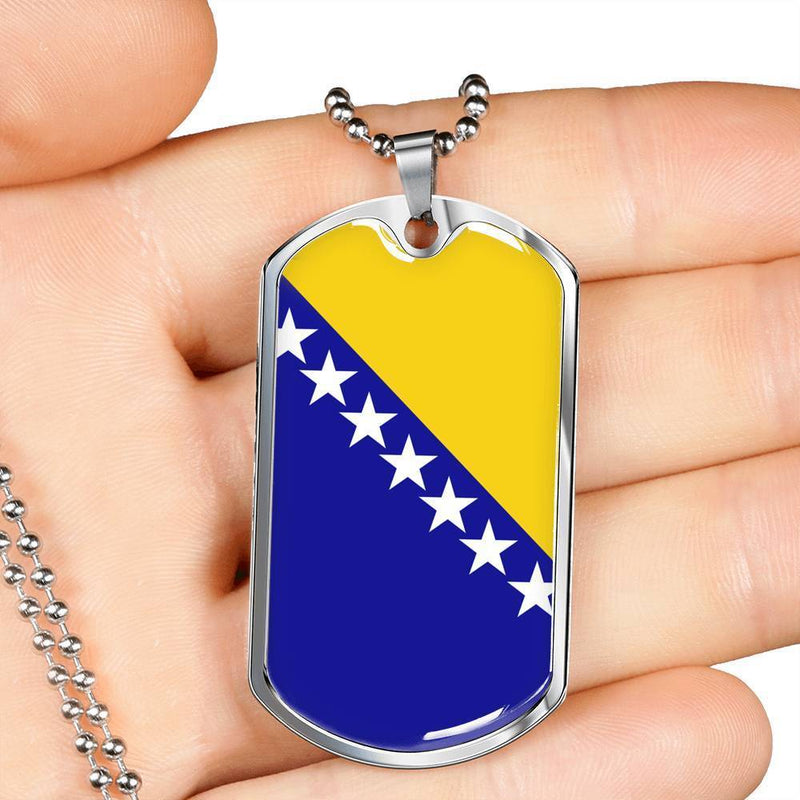 "Bosnia and Herzegovina Flag Love My Country Handmade Necklace Stainless Steel or 18k Gold Dog Tag w 24"" Ball Chain Express Your Love Gifts"