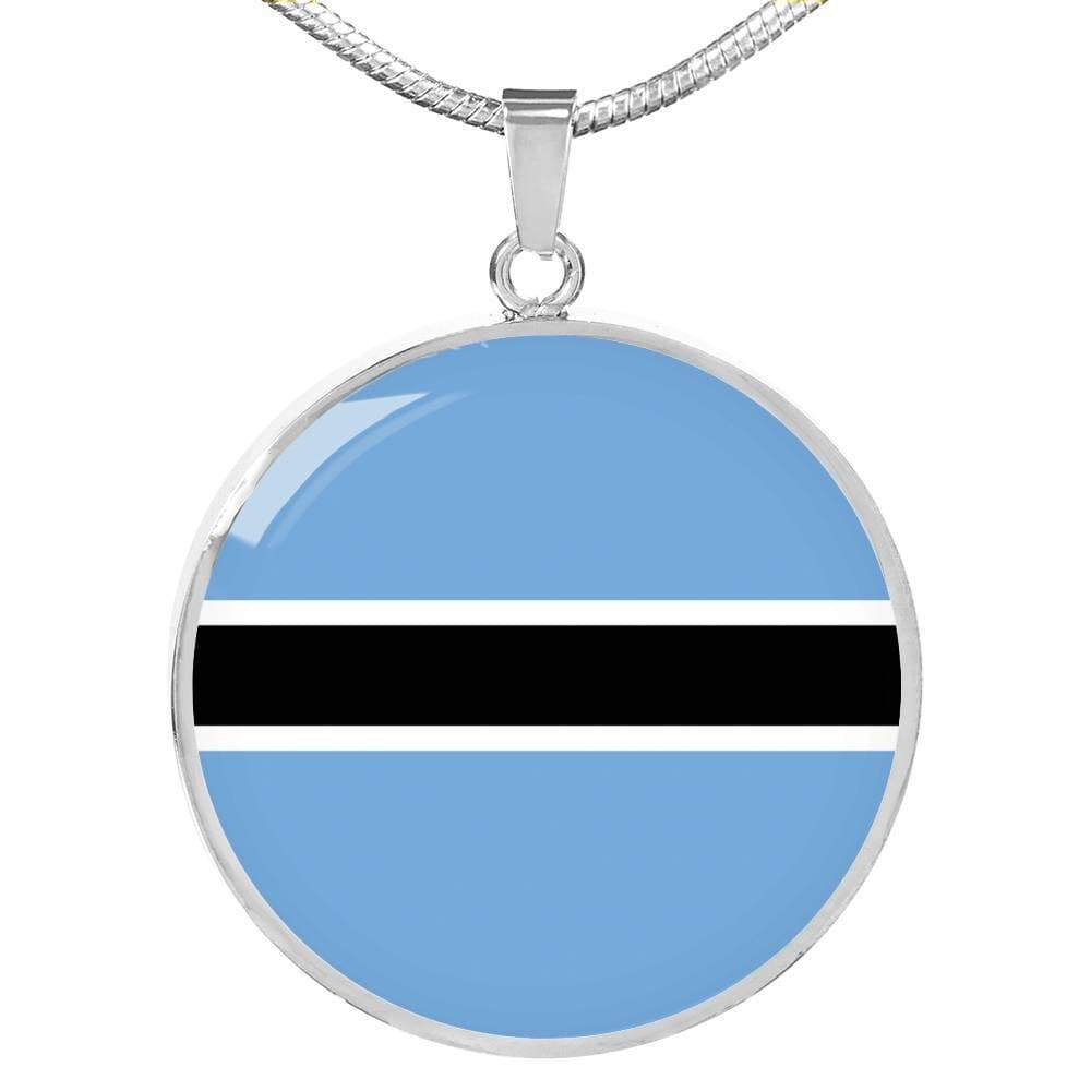 "Botswana Flag Love My Country Handmade Circle Pendant Necklace Stainless Steel or 18k Gold Finish Adjustable 18""-22"" Express Your Love Gifts"