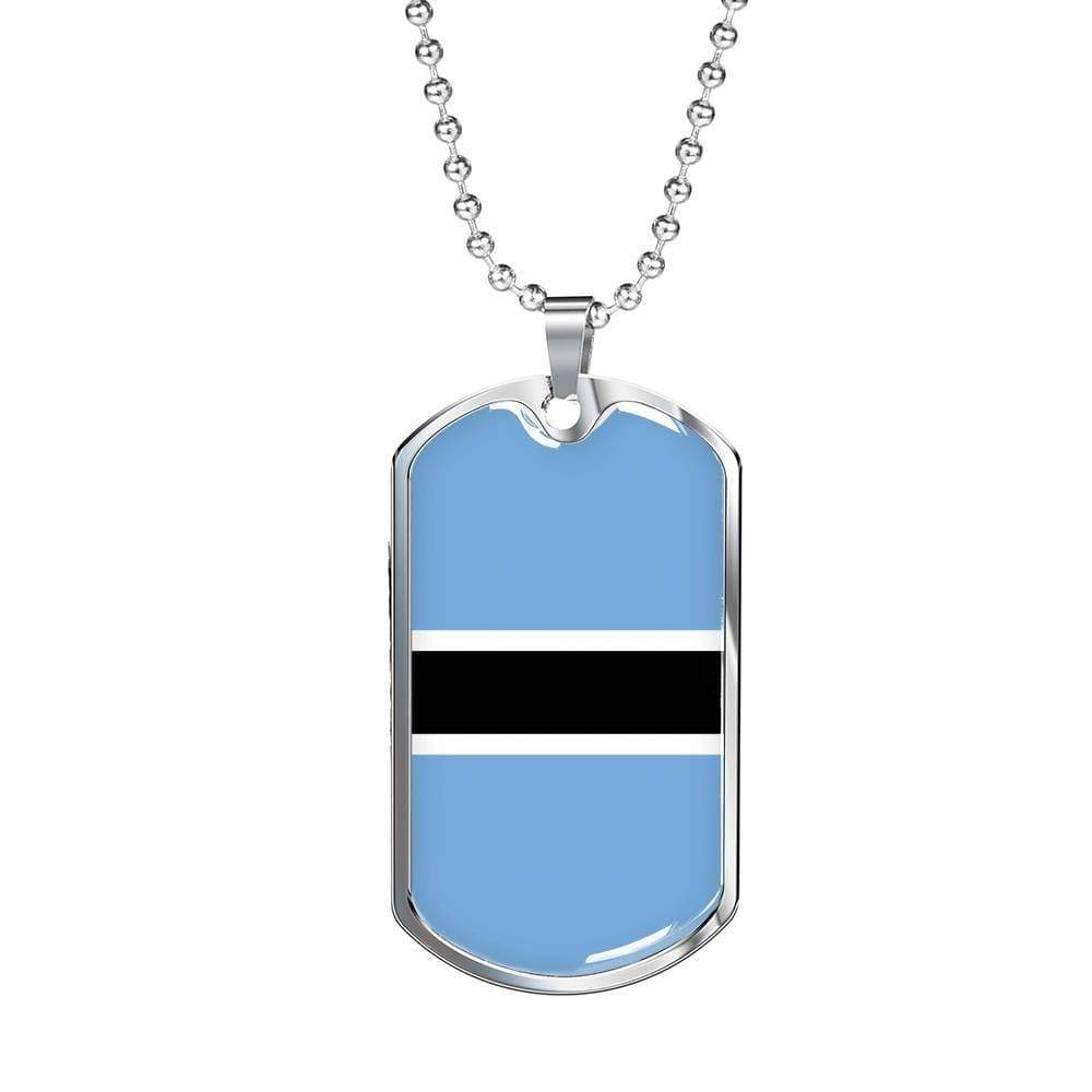 "Botswana Flag Love My Country Handmade Necklace Stainless Steel or 18k Gold Dog Tag w 24"" Ball Chain Express Your Love Gifts"