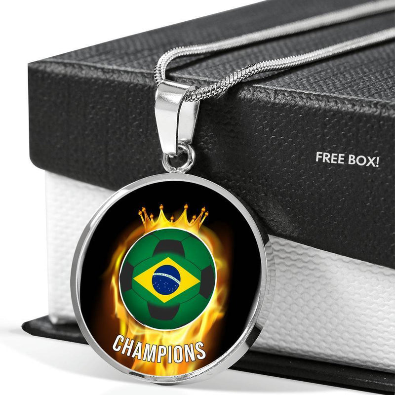 "Brazil are Champions Futbol/Soccer Circle Pendant Necklace Stainless Steel or 18k Gold 18-22"" - Express Your Love Gifts"