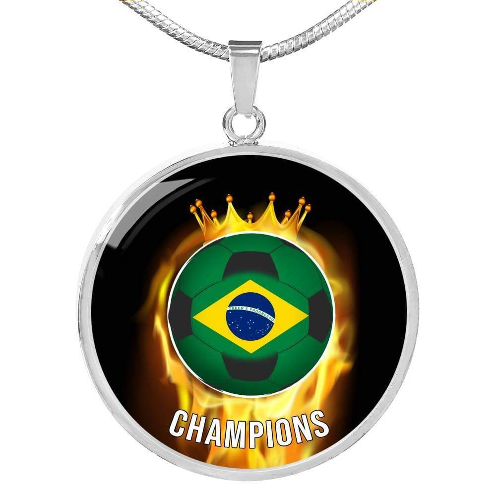 Brazil are Champions Futbol/Soccer Circular Pendant Necklace Express Your Love Gifts