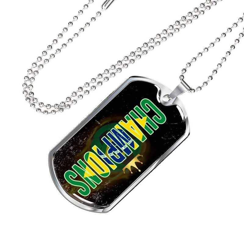 "Brazil are Champions Futbol/Soccer Necklace Stainless Steel or 18k Gold Military Dog Tag w 24"" Ball Chain Express Your Love Gifts"