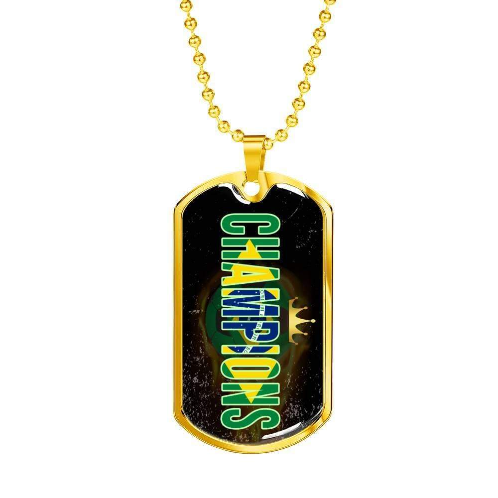 "Brazil are Champions Futbol/Soccer Necklace Stainless Steel or 18k Gold Dog Tag w 24"" Chain - Express Your Love Gifts"