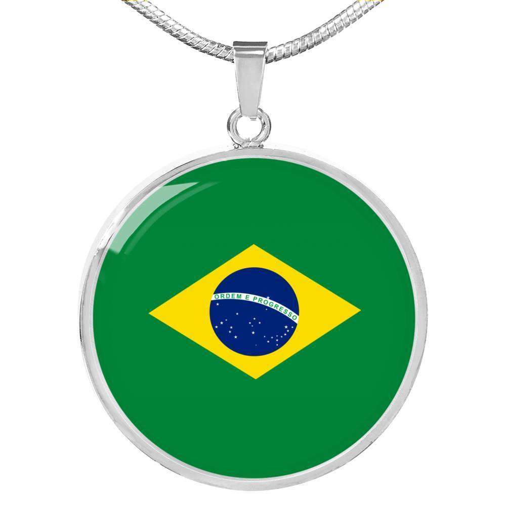 "Express Your Love Gifts Brazil Flag Love My Country Circle Pendant Necklace Stainless Steel or 18k Gold Finish- Adjustable 18""-22"" Luxury Necklace (Silver) / No"