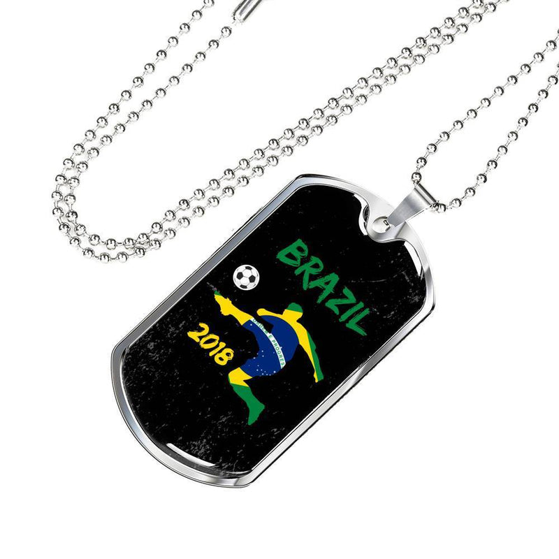 "Brazil Soccer/Futbol Champions Necklace Stainless Steel or 18k Gold Dog Tag w 24"" Chain - Express Your Love Gifts"