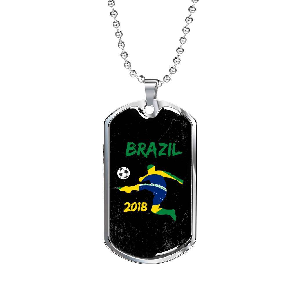 "Brazil Soccer/Futbol Champions Necklace Stainless Steel or 18k Gold Military Dog Tag w 24"" Ball Chain Express Your Love Gifts"