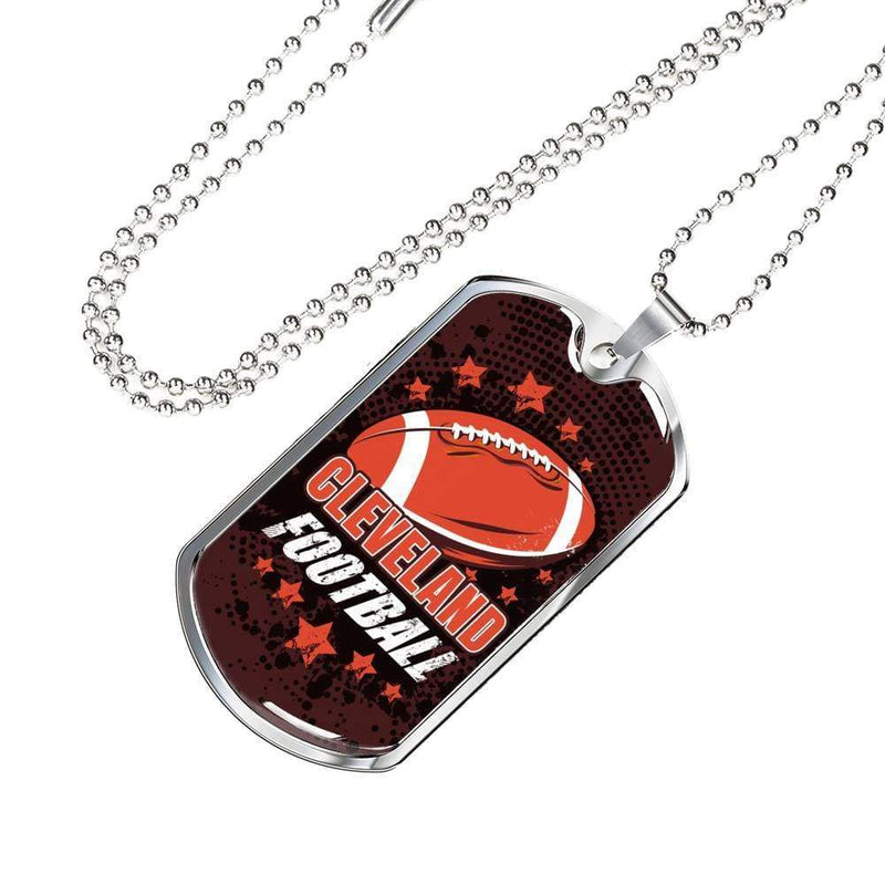 "Browns Fan Gift Cleveland Fan Football Gift Necklace Stainless Steel or 18k Gold Military Dog Tag w 24"" Ball Chain Express Your Love Gifts"