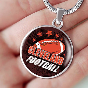 Browns Fan Gift Cleveland Football Circular Pendant Necklace Express Your Love Gifts