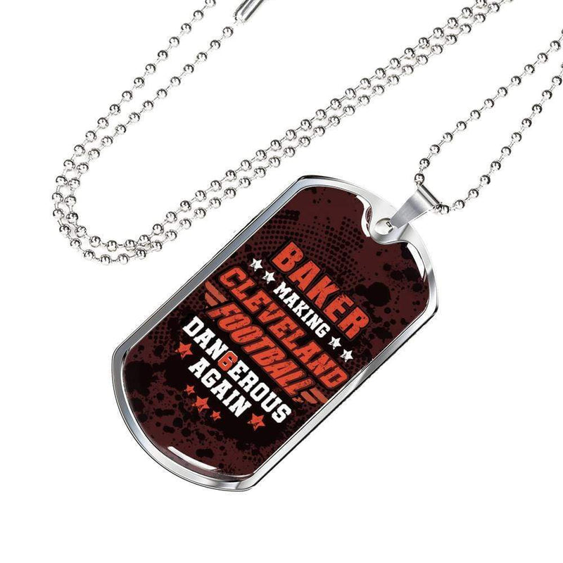 "Browns Fan Gift-Cleveland Football Fan Gift Necklace Stainless Steel or 18k Gold Military Dog Tag w 24"" Ball Chain Express Your Love Gifts"