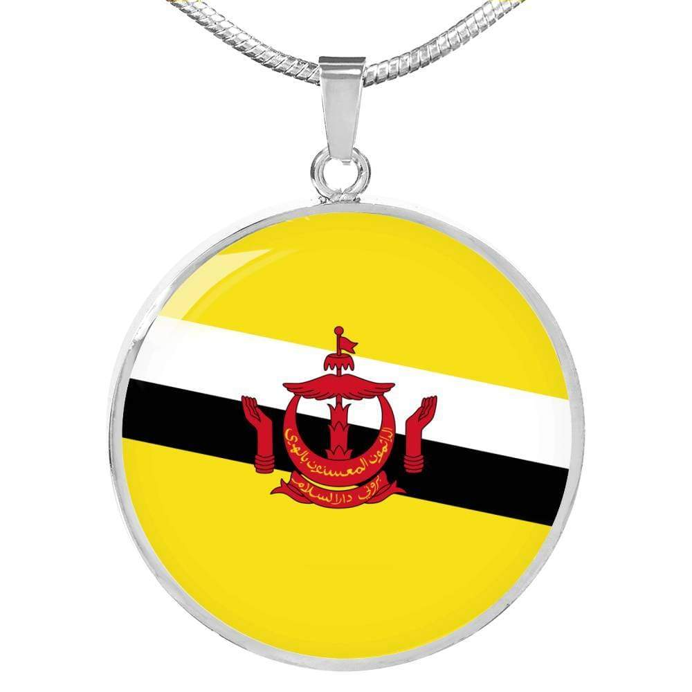 "Brunei Flag Love My Country Handmade Circle Pendant Necklace Stainless Steel or 18k Gold Finish Adjustable 18""-22"" Express Your Love Gifts"
