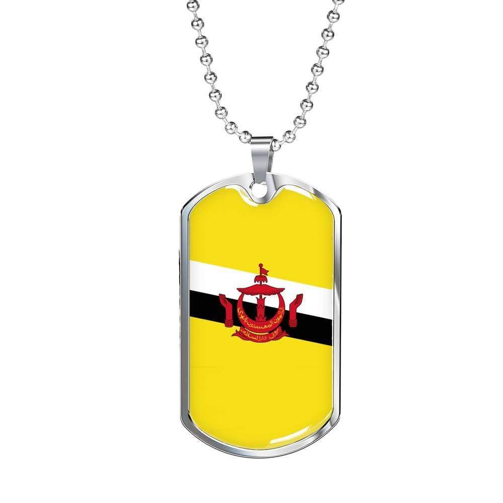 "Brunei Flag Love My Country Handmade Necklace Stainless Steel or 18k Gold Dog Tag w 24"" Ball Chain Express Your Love Gifts"