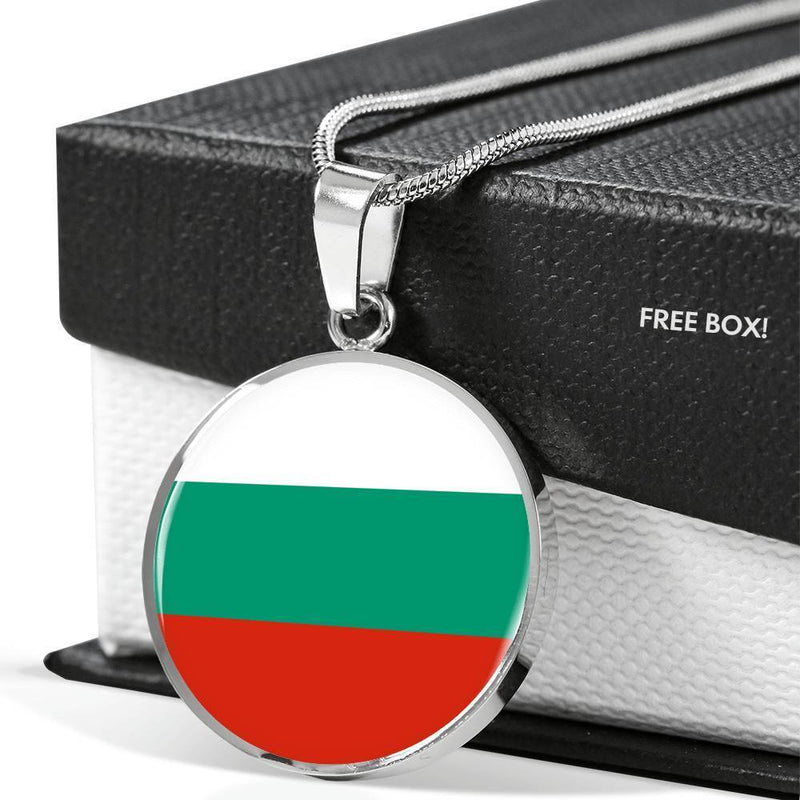 "Bulgaria Flag Love My Country Handmade Circle Pendant Necklace Stainless Steel or 18k Gold Finish Adjustable 18""-22"" Express Your Love Gifts"
