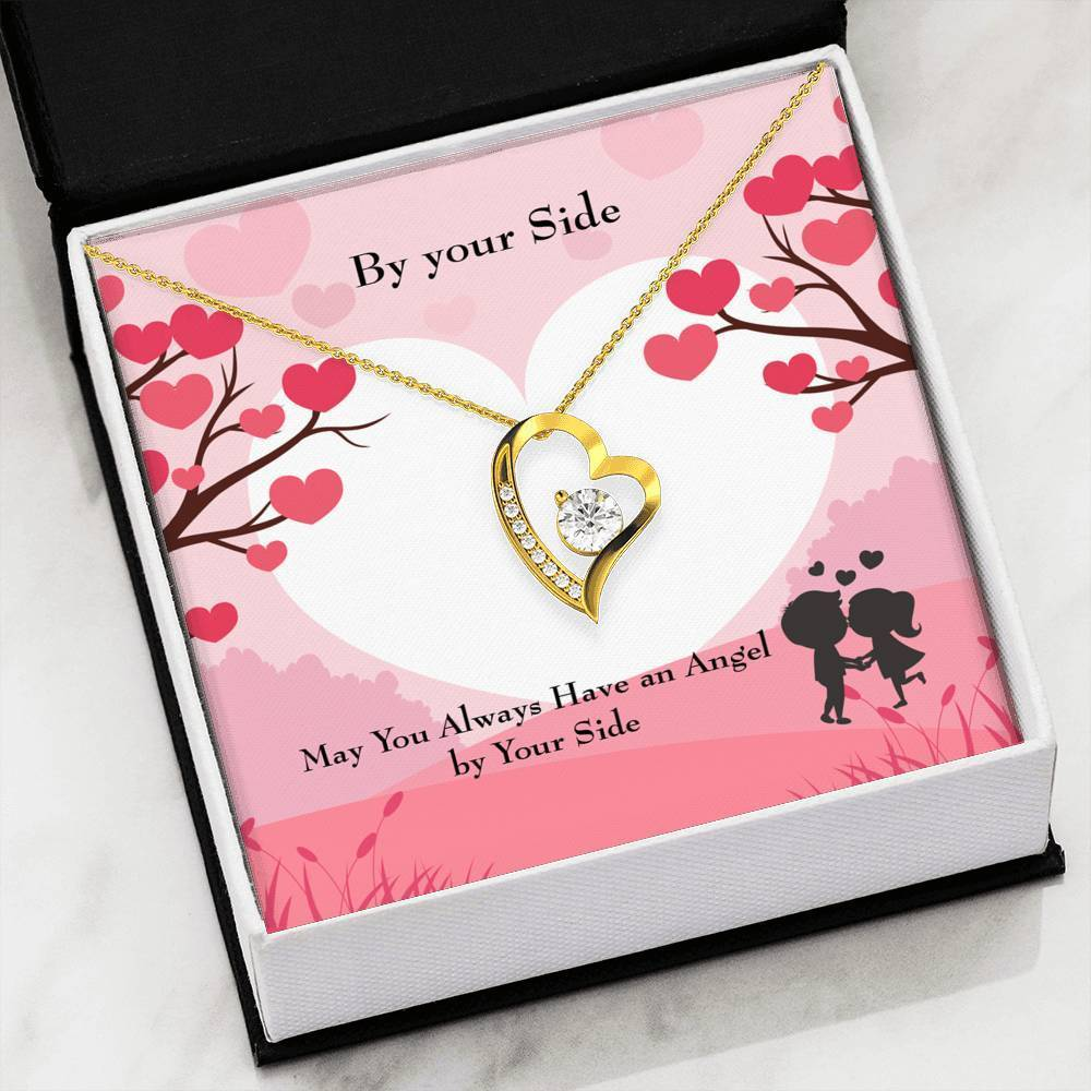"By Your Side CZ Love Heart Pendant 18k Gold or Stainless Steel 18"" Necklace - Express Your Love Gifts"
