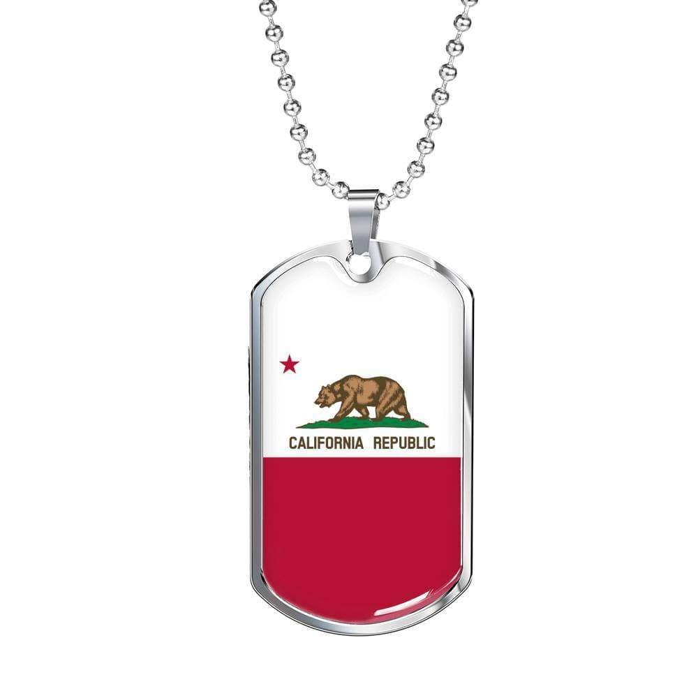 "California Flag Handmade Pendant Stainless Steel or 18k Gold Military Dog Tag Necklace w 24"" Ball Chain Express Your Love Gifts"