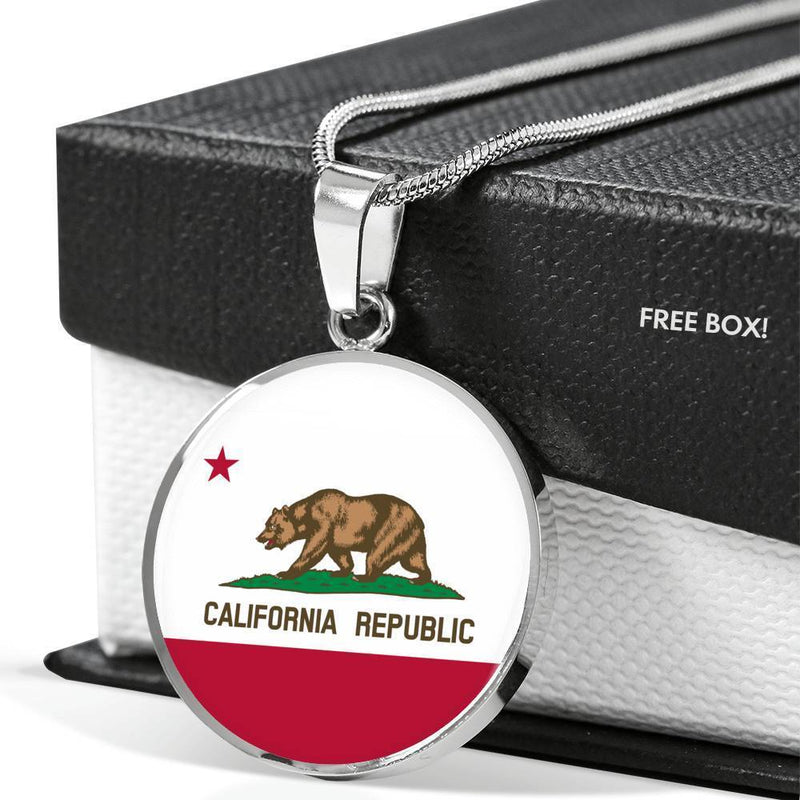 "California   State Flag Circle Pendant Stainless Steel or 18k Gold Finish Necklace Adjustable 18""-22"" Express Your Love Gifts"