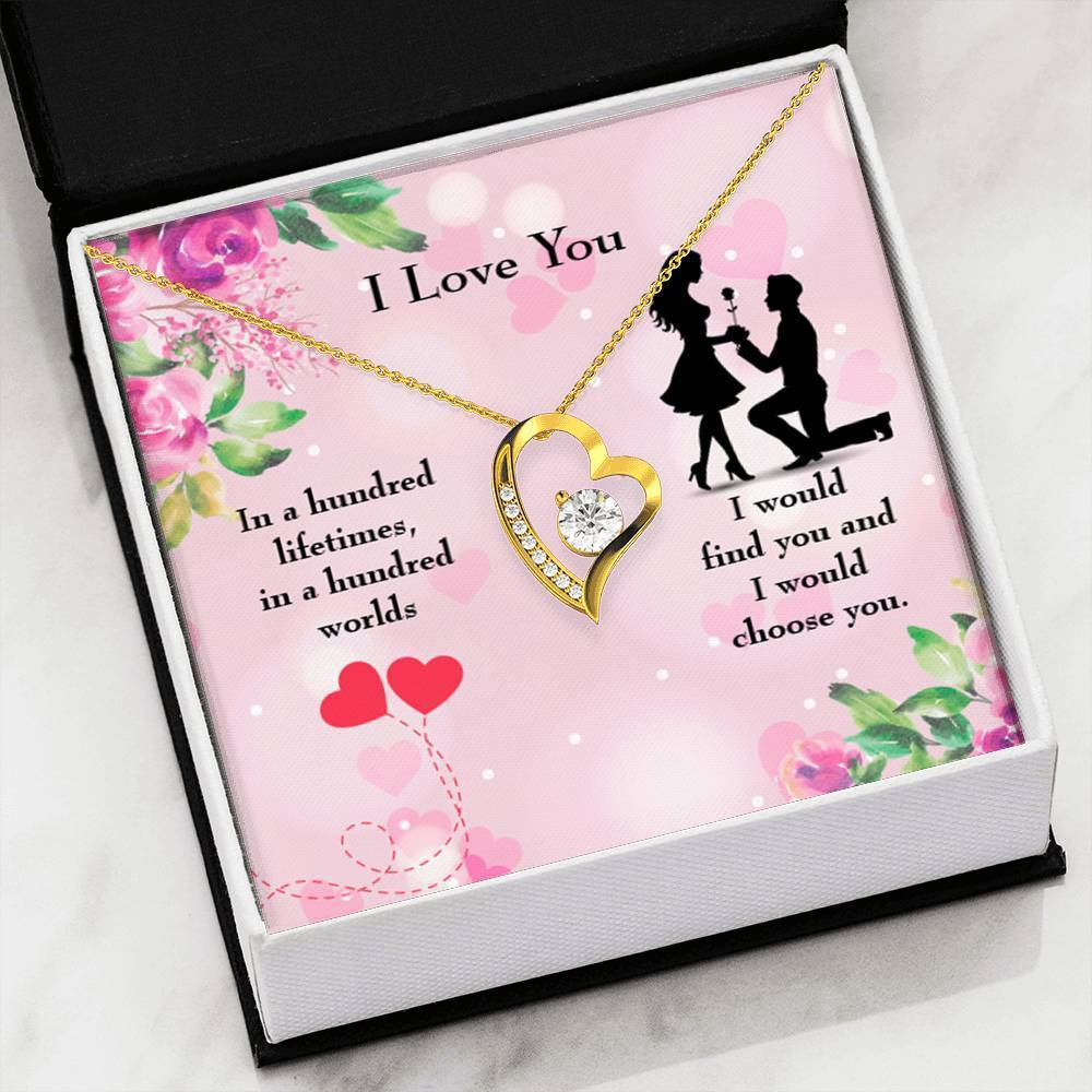 "Choose You Cubic Zirconia Love Heart Pendant 18k Gold Finish or Stainless Steel 18"" Necklace Express Your Love Gifts"