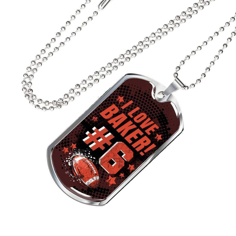 "Cleveland Football Fan Gift-I Love Baker Number 6 Necklace Stainless Steel or 18k Gold Military Dog Tag w 24"" Ball Chain Express Your Love Gifts"