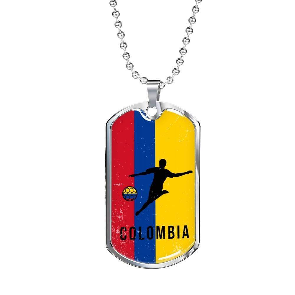 "Colombia World Futbol/Soccer Necklace Stainless Steel or 18k Gold Military Dog Tag w 24"" Ball Chain Express Your Love Gifts"