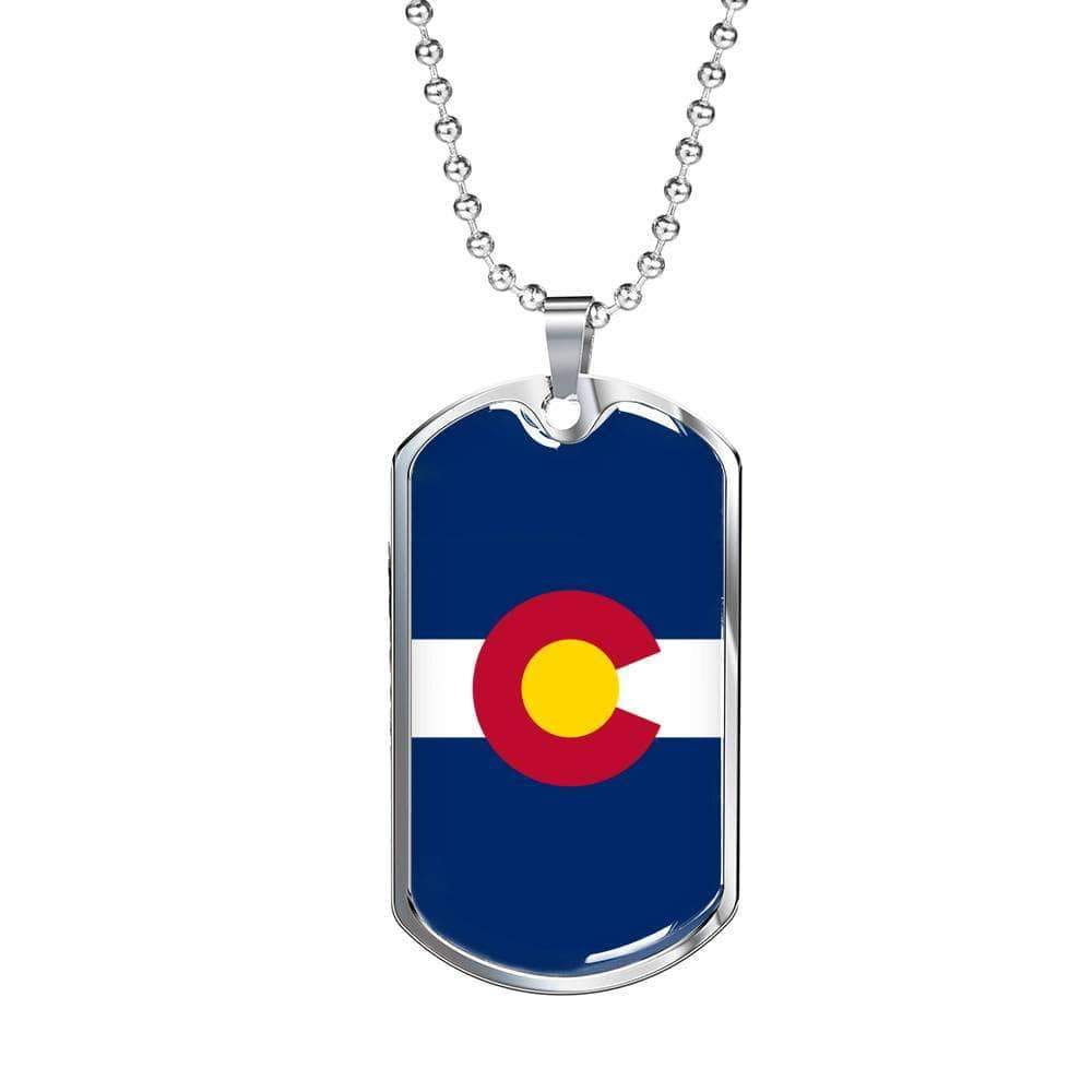 "Colorado Flag Handmade Pendant Stainless Steel or 18k Gold Military Dog Tag Necklace w 24"" Ball Chain Express Your Love Gifts"