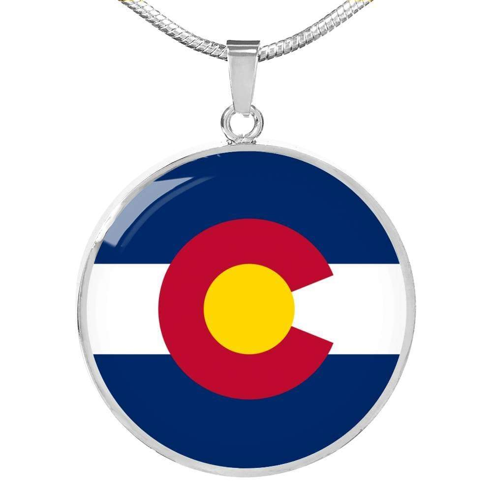 "Colorado State Flag Circle Pendant Stainless Steel or 18k Gold Finish Necklace Adjustable 18""-22"" Express Your Love Gifts"