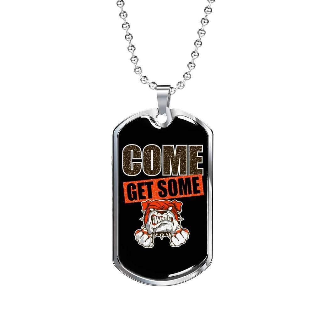 "Come Get Some Necklace Stainless Steel or 18k Gold Military Dog Tag w 24"" Ball Chain Express Your Love Gifts"