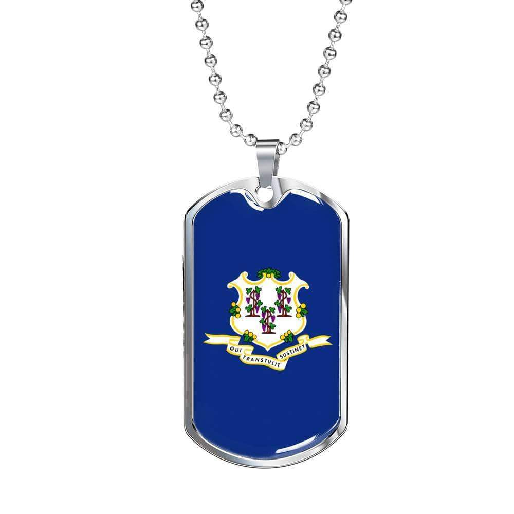 "Connecticut Flag Handmade Pendant Stainless Steel or 18k Gold Military Dog Tag Necklace w 24"" Ball Chain Express Your Love Gifts"