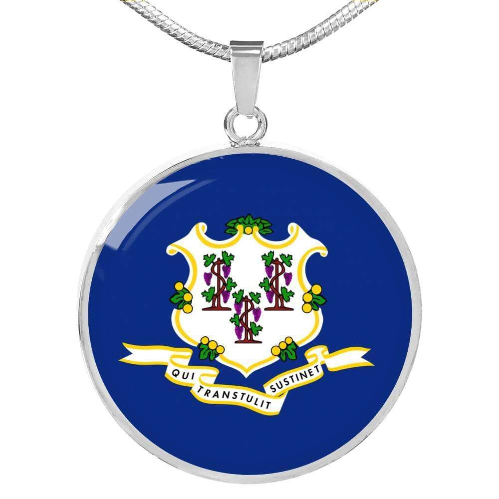 "Connecticut State Flag Circle Pendant Stainless Steel or 18k Gold Finish Necklace Adjustable 18""-22"" Express Your Love Gifts"