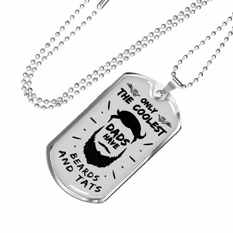 "Coolest Dad Ever Dad Gift Stainless Steel or 18k Gold Dog Tag Necklace w 24"" Chain - Express Your Love Gifts"