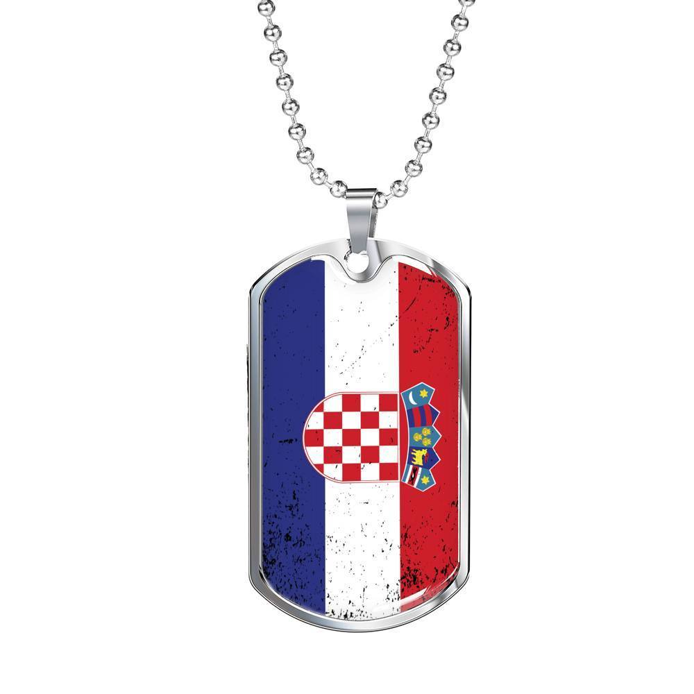 "Express Your Love Gifts Croatia Flag Love My Country Pendant Stainless Steel or 18k Gold Military Dog Tag Necklace w 24"" Ball Chain Military Chain (Silver) / No"