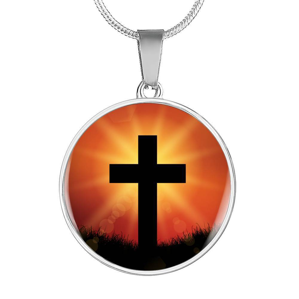 Express Your Love Gifts Cross Circular Pendant Necklace or Bangle Bracelet