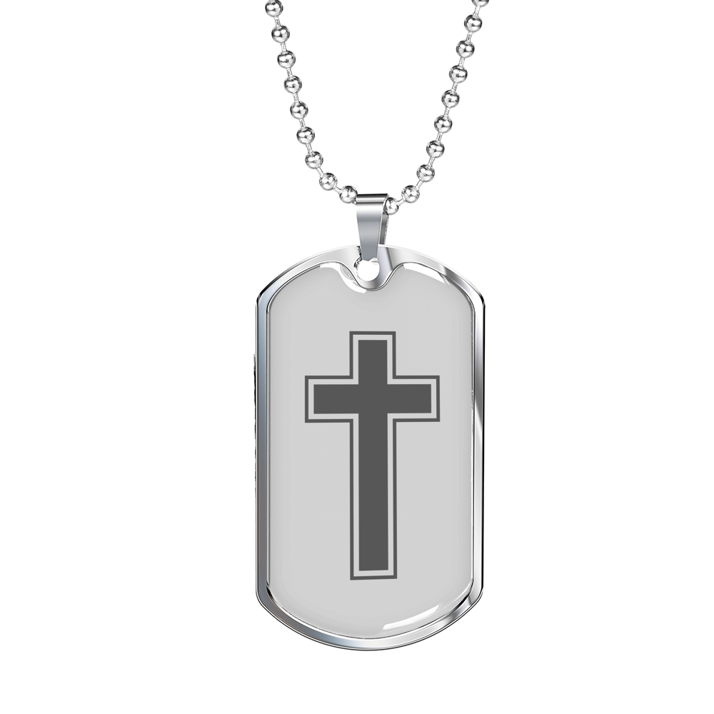 Express Your Love Gifts Cross Dog Tag Pendant Necklace Military Chain (Silver) / No