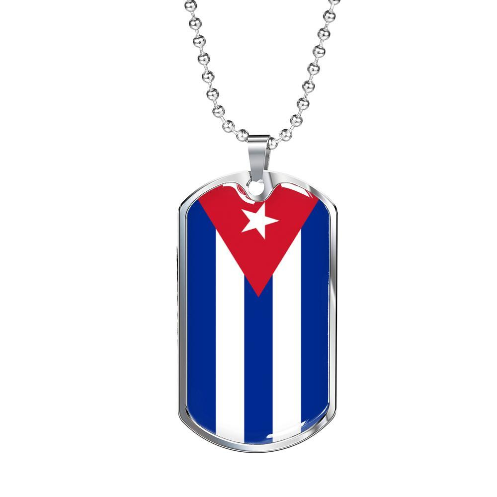 "Cuba Flag Necklace Cuba Flag Stainless Steel or 18k Gold Dog Tag 24"" - Express Your Love Gifts"