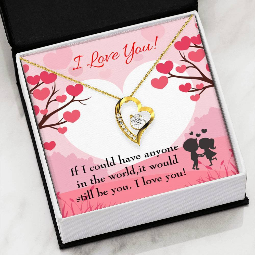 "It Would Still Be You CZ Love Heart Pendant 18k Gold or Stainless Steel 18"" Necklace - Express Your Love Gifts"