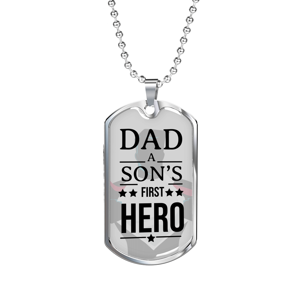 "Father Gift Dad A Son's First Hero Necklace Stainless Steel or 18k Gold Dog Tag w 24"" Chain - Express Your Love Gifts"
