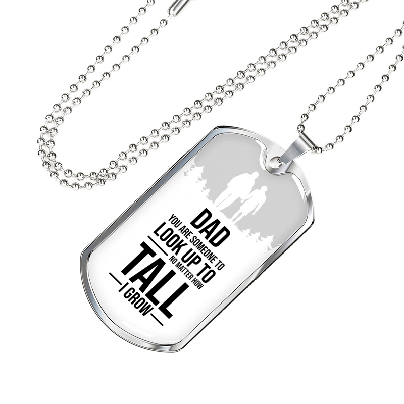 "Dad You Are Someone Dad Gift Necklace Stainless Steel or 18k Gold Dog Tag w 24"" Chain - Express Your Love Gifts"