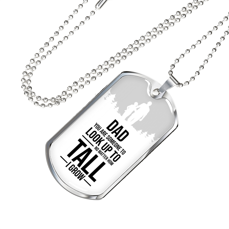 "Dad You Are Someone Necklace Stainless Steel or 18k Gold Dog Tag w 24"" Chain - Express Your Love Gifts"