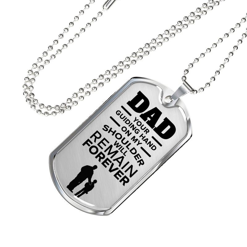 "Father gift Dad Gift Necklace Stainless Steel or 18k Gold Dog Tag w 24"" Chain - Express Your Love Gifts"
