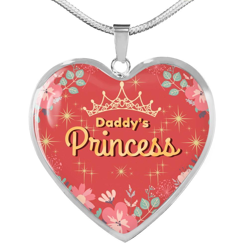 Express Your Love Gifts Daddy's Princess Heart Pendant Necklace