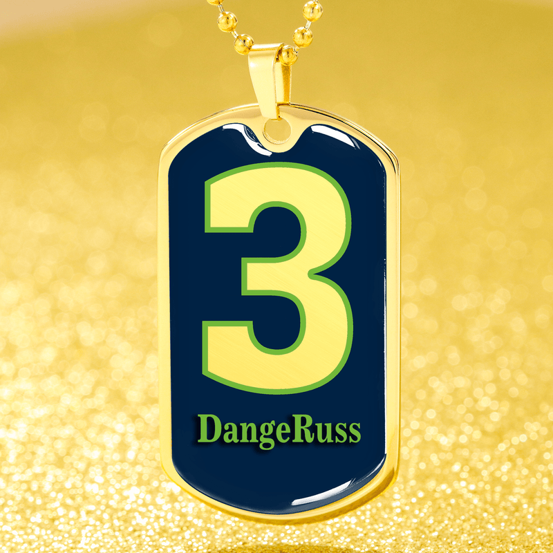 "DangeRuss Seattle QB Necklace Stainless Steel or 18k Gold Finish Dog Tag w 24"" Express Your Love Gifts"