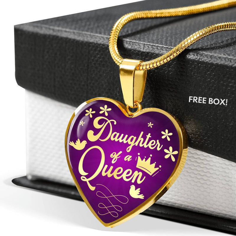 Mom Message Gift Daughter of a Queen Mother Daughter Heart Pendant Stainless Steel or 18k Gold Heart Pendant 18-22'' - Express Your Love Gifts