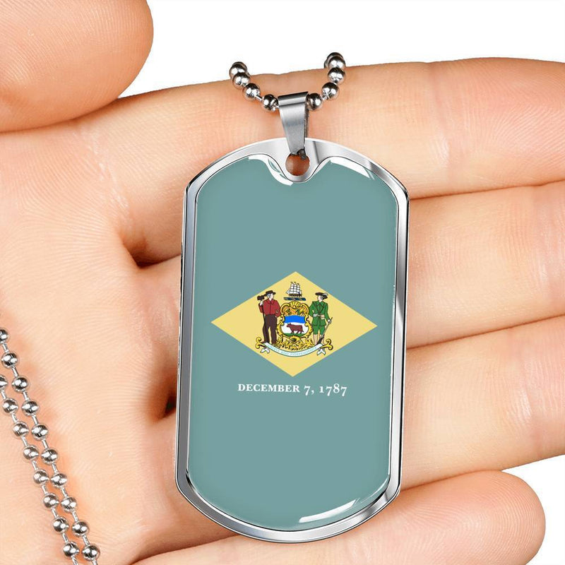 "Express Your Love Gifts Delaware Flag Handmade Pendant Stainless Steel or 18k Gold Military Dog Tag Necklace w 24"" Ball Chain Military Chain (Silver) / No"