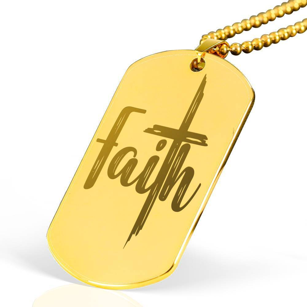 "Distress Faith Cross Bible Verse Necklace 18k Gold Stainless Steel Dog Tag 24"" w Ball Chain Express Your Love Gifts"