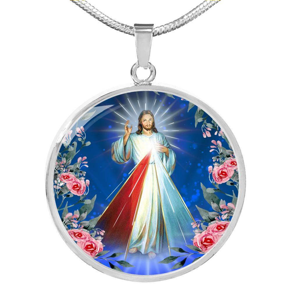 "Divine Mercy Catholic Prayer to Jesus Circle Pendant Necklace Stainless Steel or 18k Gold 18-22"" - Express Your Love Gifts"