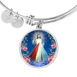 Express Your Love Gifts Divine Mercy Catholic Jewelry 3 O'Clock Prayer to Lord Jesus Christ Bracelet Bangle