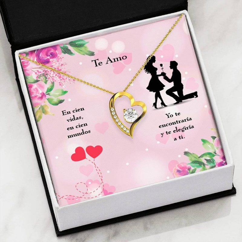 Te Amo Spanish Love Forever Necklace Stainless Steel Spanish Jewelry Gift Te Amo I Love you Pendant Te Amo Necklace Message Card Spanish Love Spanish jewelry gift - Express Your Love Gifts